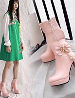 Недорогие -Жен. Fashion Boots Полиуретан Осень Ботинки На толстом каблуке Закрытый мыс Ботинки Белый / Черный / Розовый