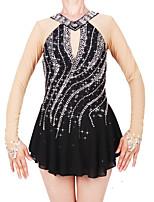 cheap -Figure Skating Dress Women's / Girls' Ice Skating Dress Black Spandex High Elasticity Professional Skating Wear Fashion Long Sleeve Ice Skating / Winter Sports / Figure Skating