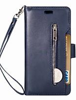 billiga -fodral Till Huawei P20 lite Plånbok / Korthållare / Lucka Fodral Enfärgad Hårt PU läder för Huawei P20 lite