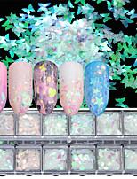 billiga -1 pcs Paljetter Ministil / Färgskiftande / Bästa kvalitet Hjärta Regnbåge nagel konst manikyr Pedikyr Jul / Halloween / Bal Artistisk / Ljuv