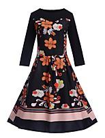 baratos -Mulheres Moda de Rua balanço Vestido - Estampado Altura dos Joelhos
