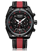 cheap -MEGIR Men's Sport Watch Japanese Quartz 30 m Water Resistant / Water Proof Calendar / date / day Chronograph Genuine Leather Band Analog Casual Fashion Black / Silver - Black / Red Black / Silver