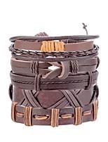 cheap -Men's Retro / Braided Leather Bracelet / Loom Bracelet - Leather Leaf, Owl Statement, Fashion Bracelet Black / Brown / Dark Red For Street / Bar