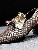 Недорогие -Муж. Официальная обувь Наппа Leather Осень Английский Мокасины и Свитер Доказательство износа Золотой / Черный / Серебряный / Для вечеринки / ужина