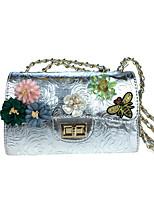 baratos -Mulheres Bolsas Pele Bolsa de Festa Apliques / Detalhes em Pérolas / Flor Floral / Botânico Dourado / Prata