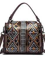 baratos -sacos de mulheres bolsa de couro napa estampa floral amêndoa / vermelho / preto