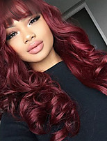 cheap -Synthetic Wig Wavy Burgundy Layered Haircut Synthetic Hair 26 inch Party / Classic / Synthetic Black / Burgundy Wig Women's Long Capless Dark Wine / Yes