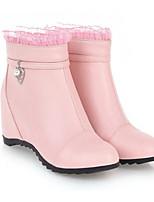 Недорогие -Жен. Fashion Boots Полиуретан Осень Ботинки Туфли на танкетке Закрытый мыс Ботинки Белый / Черный / Розовый