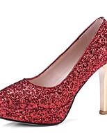 Недорогие -Жен. Комфортная обувь Полотно Весна Обувь на каблуках На шпильке Белый / Серебряный / Красный
