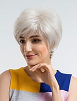 cheap -Synthetic Wig Straight Pixie Cut Synthetic Hair 10 inch Natural Hairline Silver Wig Women's Long Capless Silver / Yes