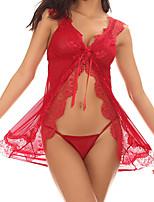 baratos -Mulheres Sexy Baby-doll & Slip Roupa de Noite - Renda Jacquard / Decote V