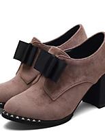 Недорогие -Жен. Fashion Boots Замша Весна Ботинки На толстом каблуке Закрытый мыс Ботинки Черный / Верблюжий