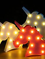 Недорогие -BRELONG® 1шт Unicorn 3D ночной свет Тёплый белый Аккумуляторы AAA Для детей / Милый / Украшение <5 V