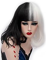 billiga -Cosplay Peruker / Syntetiska peruker Rak Middle Part Syntetiskt hår 14 tum Moderiktig design Svart / Vit Peruk Dam Korta Utan lock Svart / Vit