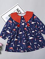 Недорогие -Дети (1-4 лет) Девочки Фламинго Животное Длинный рукав Платье