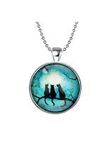 Недорогие -Муж. Старинный Ожерелья с подвесками / Винтажное ожерелье - Серебрянное покрытие Кошка Винтаж, Панк Светящийся, Cool Синий 60 cm Ожерелье Бижутерия 1шт Назначение Для вечеринок, Halloween