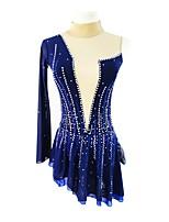 abordables -Robe de Patinage Artistique Femme / Fille Patinage Robes Bleu Spandex Micro-élastique Professionnel Tenue de Patinage Paillette Manches Longues Patinage Artistique