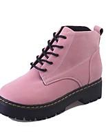 Недорогие -Жен. Армейские ботинки Замша Наступила зима На каждый день Ботинки Для прогулок На низком каблуке Круглый носок Ботинки Черный / Военно-зеленный / Розовый