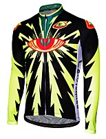 cheap -Malciklo Men's Long Sleeve Cycling Jersey - Black / Black / Yellow Cartoon Bike Jersey, Quick Dry, Anatomic Design, Breathable Cartoon / Italy Imported Ink