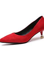 abordables -Femme Escarpins Polyuréthane Automne Minimalisme Chaussures à Talons Kitten Heel Bout pointu Noir / Beige / Rouge / Quotidien