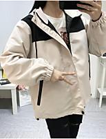 baratos -jaqueta feminina - bloco de cor com capuz