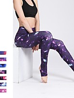 cheap -Women's Pocket / Stirrup Yoga Pants - Amethyst, Violet, Blue+Orange Sports Galaxy Star Print Tights Running, Fitness, Workout Activewear Breathable, Soft, Sweat-wicking High Elasticity Slim