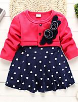 abordables -bébé Fille Points Polka / Fleur Manches Longues Robe