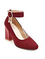 Недорогие -Жен. Балетки Замша Осень Обувь на каблуках На толстом каблуке Красный / Зеленый / Розовый