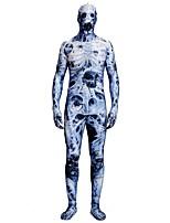 abordables -Collants / Costumes zentai à motifs / Costume de Cosplay Zombie Costume Zentai Costumes de Cosplay Bleu Imprimé Boas et Plumes / Elastique Unisexe Halloween / Carnaval / Mascarade