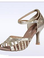 Недорогие -Жен. Обувь для латины Синтетика На каблуках Тонкий высокий каблук Танцевальная обувь Золотой / Серебряный