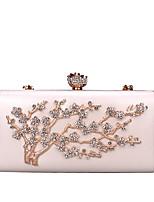 Недорогие -Жен. Мешки PU Вечерняя сумочка Кристаллы Цветочные / ботанический Белый / Черный / Розовый