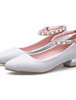 Недорогие -Жен. Комфортная обувь Полотно Весна Свадебная обувь На низком каблуке Золотой / Черный / Серебряный / Свадьба