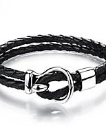 Недорогие -Муж. Плетение Loom браслет - Титановая сталь Панк, Камни Браслеты Черный Назначение Для улицы