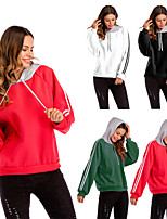 cheap -Women's Crew Neck Patchwork Hoodie & Sweatshirt - Black, Red, Green Sports Stripe Top Running, Fitness, Gym Long Sleeve Activewear Windproof, Soft Micro-elastic