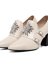 Недорогие -Жен. Балетки Наппа Leather Весна На каждый день Обувь на каблуках На толстом каблуке Стразы Черный / Бежевый / Для вечеринки / ужина