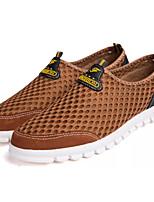 baratos -Homens Sapatos Confortáveis Couro Ecológico Outono Casual Mocassins e Slip-Ons Não escorregar Preto / Azul / Castanho Claro