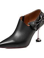 Недорогие -Жен. Комфортная обувь Наппа Leather Весна Минимализм Обувь на каблуках На шпильке Бант Белый / Черный / Для вечеринки / ужина