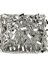 abordables -Femme Sacs Polyester / Alliage Sac de soirée Paillette / Détail Cristal Floral / Botanique Argent / Arc-en-ciel