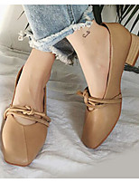 baratos -Mulheres Sapatos Confortáveis Couro Ecológico Outono Saltos Salto Robusto Bege / Marron