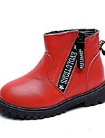 Недорогие -Девочки Обувь Полиуретан Наступила зима Ботильоны Ботинки Для прогулок Пряжки для Дети Белый / Черный / Красный