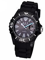baratos -ASJ Homens Relógio Esportivo Japanês Quartzo 30 m Impermeável Relógio Casual Silicone Banda Analógico Casual Fashion Preta / Branco - Branco Preto