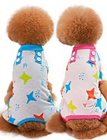 cheap -Dogs / Cats Pajamas Dog Clothes Cartoon / Stars Green / Blue / Pink Cotton Costume For Pets Unisex Sweet Style / Casual / Daily