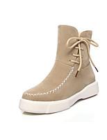 Недорогие -Жен. Комфортная обувь Замша Наступила зима На каждый день Ботинки Микропоры Круглый носок Сапоги до середины икры Черный / Военно-зеленный / Миндальный