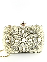 cheap -Women's Bags Polyester / Alloy Evening Bag Buttons / Pearls Floral Print White / Black / Khaki