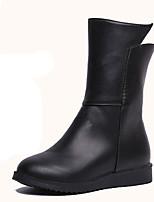 Недорогие -Жен. Комфортная обувь Полиуретан Осень На каждый день Ботинки На плоской подошве Круглый носок Сапоги до середины икры Черный