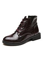 Недорогие -Жен. Армейские ботинки Полиуретан Осень Минимализм Ботинки На низком каблуке Круглый носок Ботинки Черный / Винный