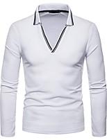Недорогие -Муж. Polo Рубашечный воротник Контрастных цветов / Длинный рукав