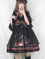 baratos -Gótica Lolita Clássica e Tradicional Vintage Góticas Chifon Renda Feminino Vestidos Cosplay Amarelo / Vermelho / Tinta Azul Cordão Bordado Manga Princesa Meia Manga Midi Trajes da Noite das Bruxas