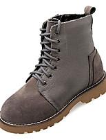 Недорогие -Жен. Армейские ботинки Деним Осень На каждый день Ботинки На низком каблуке Сапоги до середины икры Серый / Коричневый