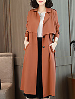 cheap -Women's Work Trench Coat - Solid Colored